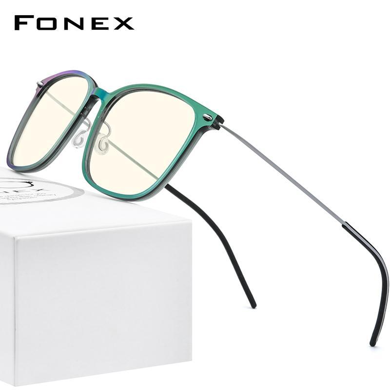 Fonex Anti Blue Blue Blocking Blocking Glasses Donne Antiblue Protezione UV Computer Eyeglasses Uomo FAB010 (Braccio in nylon B ARM titanio) 210323