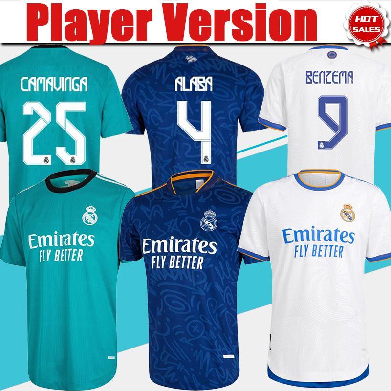 Versão do jogador Camiseta Real Madrid 3ª Verde # 20 Vini Jr. # 25 Camavinga Camaver Jerseys 21/22 # 9 Benzema # 10 Modric Home Soccer Shirt Homens # 15 Valverde Away Futebol Uniforme