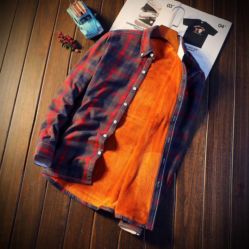 M-5XL 겨울 플러스 두꺼운 유형 격자 무늬 셔츠 남성용 전체 슬리브 싱글 브레스트 캐주얼 셔츠 벨벳 및 두꺼운 outwear 탑스를 추가