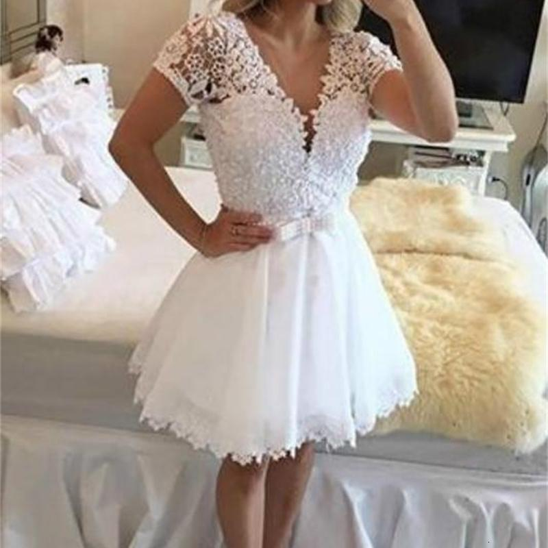 New White Girl Graduation Homecoming Prom Party Gown A Line V-Neck With Short Sleeves Chiffon Lace Applique Beaded Formal Dress