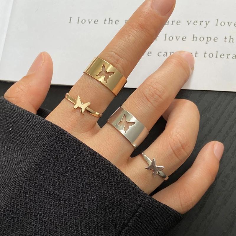 Trendy Gold Butterfly Ring For Women Men Lover Couple Rings Set Friendship Engagement Wedding Open Rings