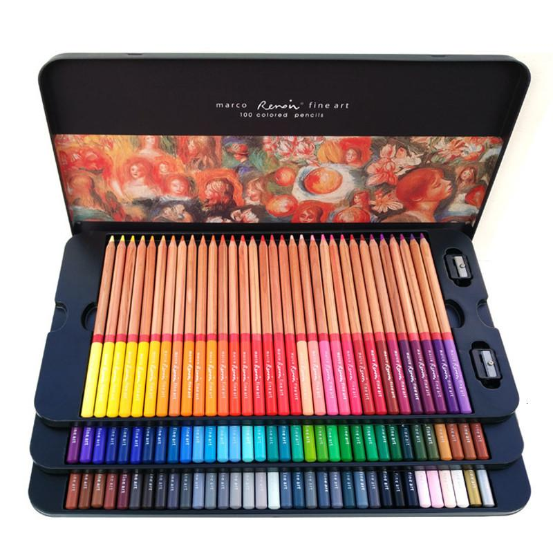 Marco Renoir 24/36/48/72/100 Colors Pencil Set Painting Pens with boxes profesionales Crayons Colouring Drawing Pencils Set Wholesale