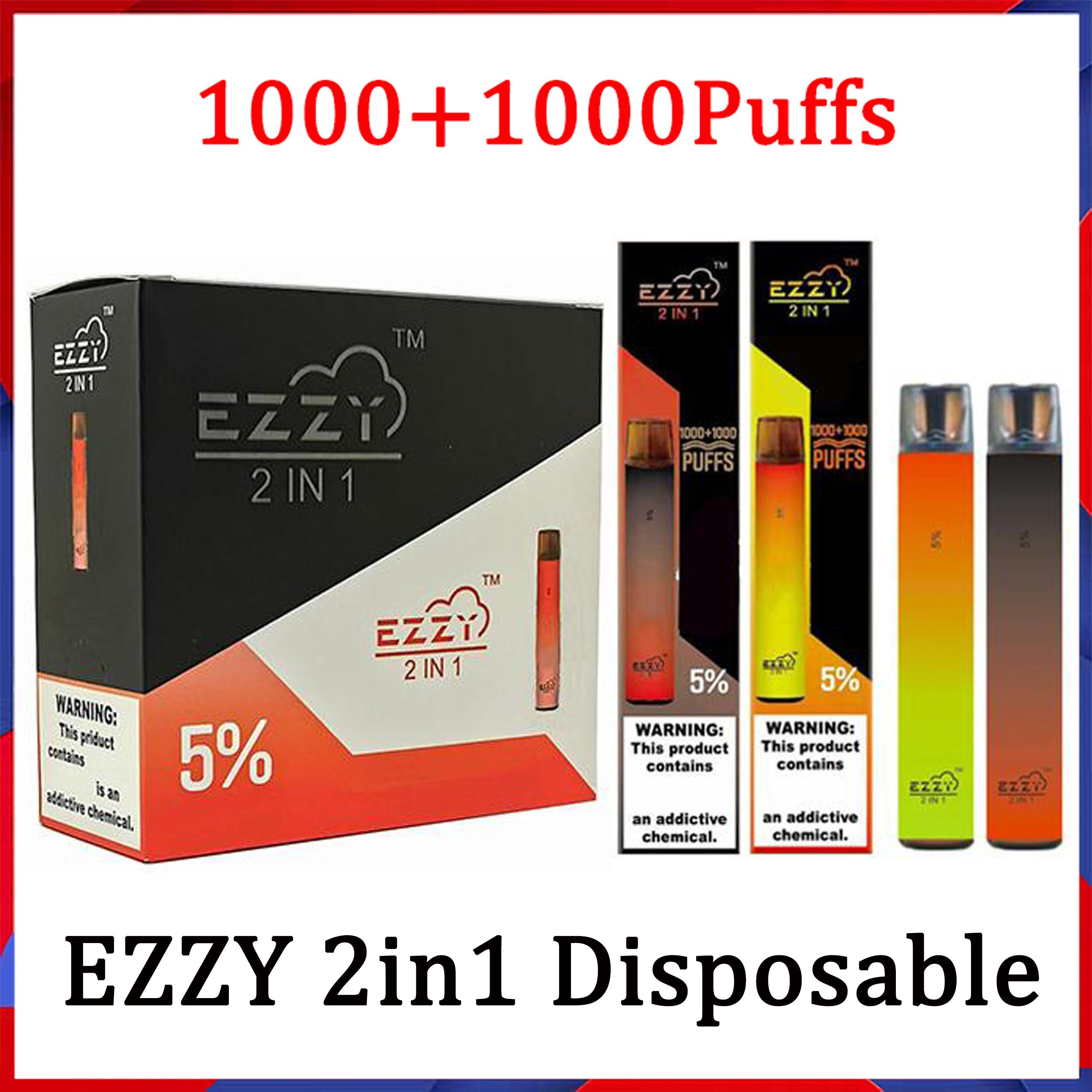 Ezzy super 2in1 Dispositivo descartável do vape do cigarro e do cigarro 6.5ml 2000 Sistema portátil do pod 900mAh 2 em 1