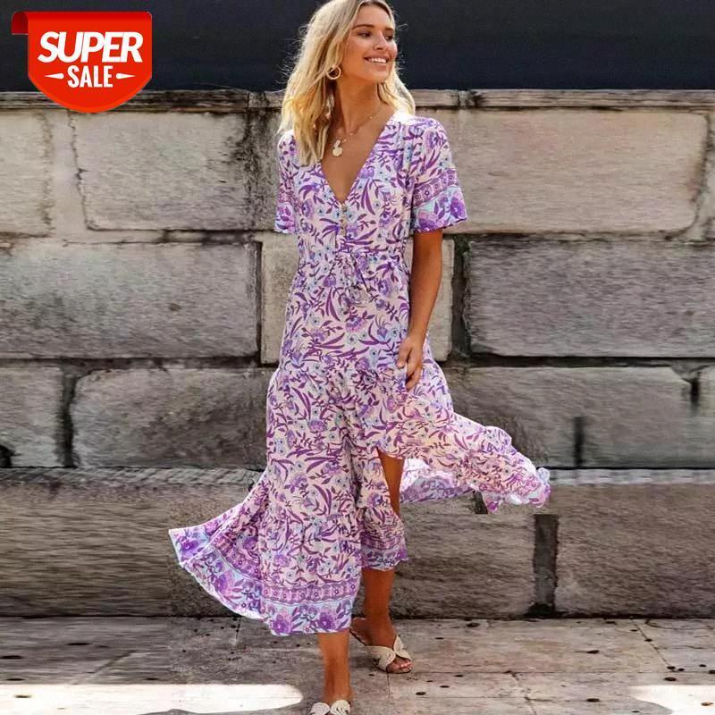 Lilac floral maxi vestido v-decote rayon roxo boho casual 2020 primavera verão para as mulheres chique longa # um5j