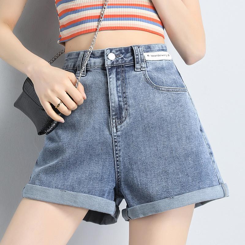 Coreano Alto Cintura Elástica Denim Women Women's Jean Suelos Verano Finudo Pierna Pantalones vaqueros Moda Cómodo A-Line Shorts