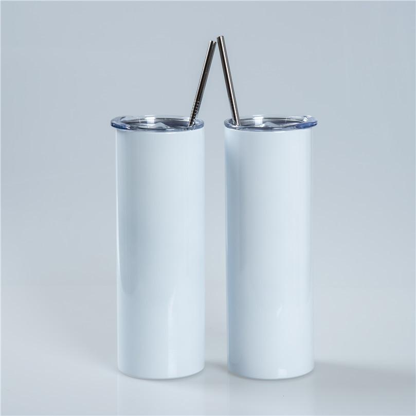Chebast 20ok rastremato e dritto sublimazione tumbler 20 oz in acciaio inox in acciaio inox flacone di acqua alto con coperchi di paglia metallica