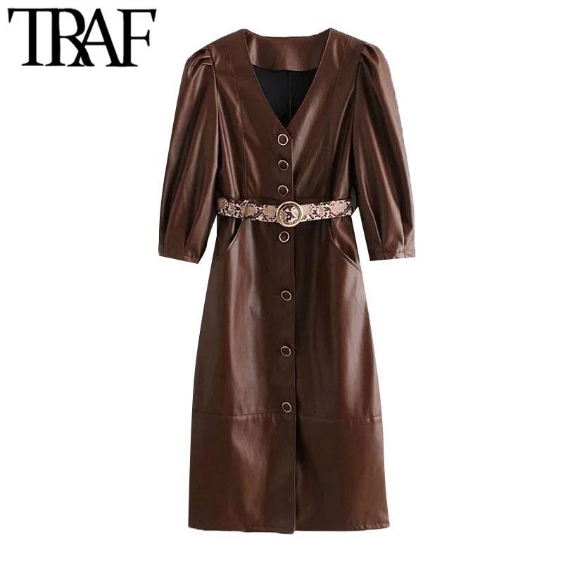 Traf frauen schicke mode mit gürtel faux leder knopf-up midi kleid vintage ven neck seite taschen weibliche kleider mujer 210415