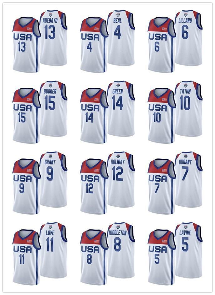 USA Team 2021 Tokyo Olympiade Basketball Lavine Tatum Durant Adebayo Lillard Devin Bookor White Jersey