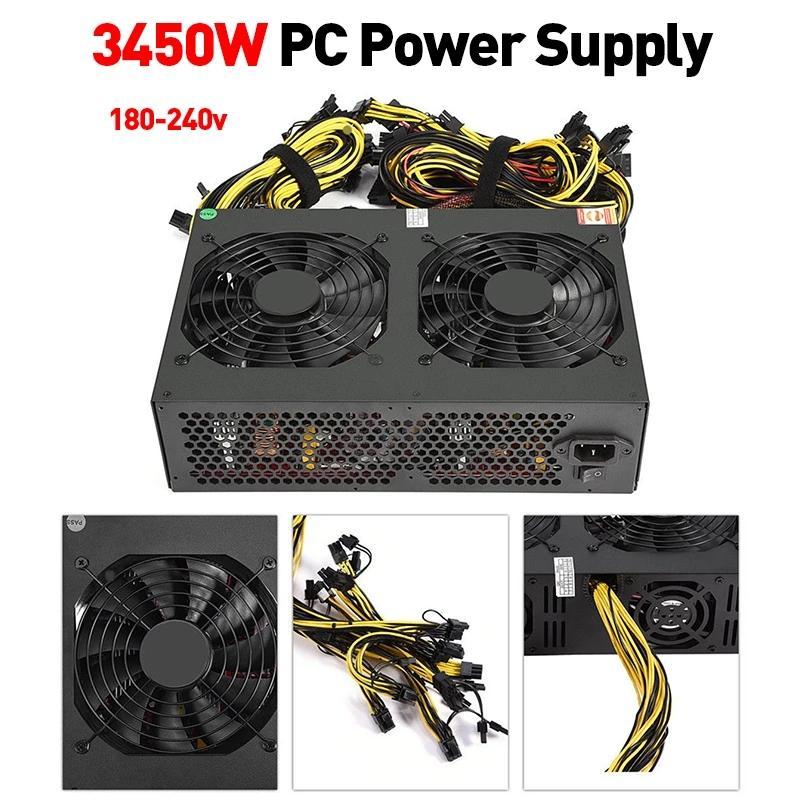 Miner Alimentation 3450W PC PSU 80 Plus Gold AtX Adaptateur d'ordinateur Source à moteur à moteur pour BTC Bitcoin Millings Servir
