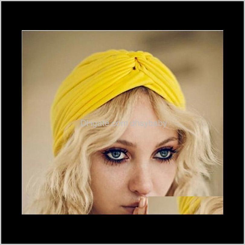 Gorro / cráneo retro mujeres hijab bandana headwear indio diadema gorras turbante oreja gorra sólido plisado damas kerchief ducha sombrero gorros 6 Iique