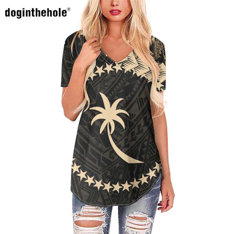 T-shirt da donna Doginthehole con stile di stampa chuuk 2021 vestiti con scollo a V maniche corte I top tee per la maglietta da donna lady tee