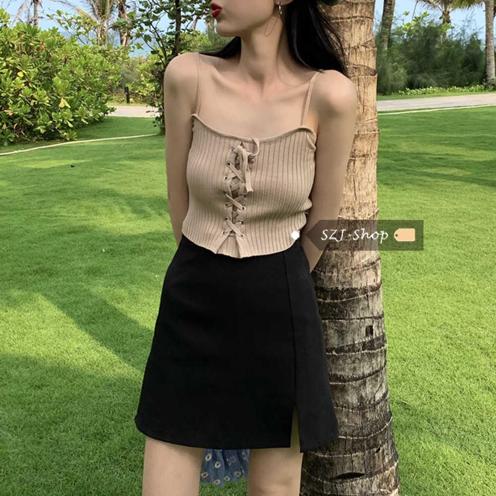 Camisole 2021 Summer Wear Sexy Slim Fitting Open Navel Short Top for Women with Vest Strap and Knitted Slinglkm7