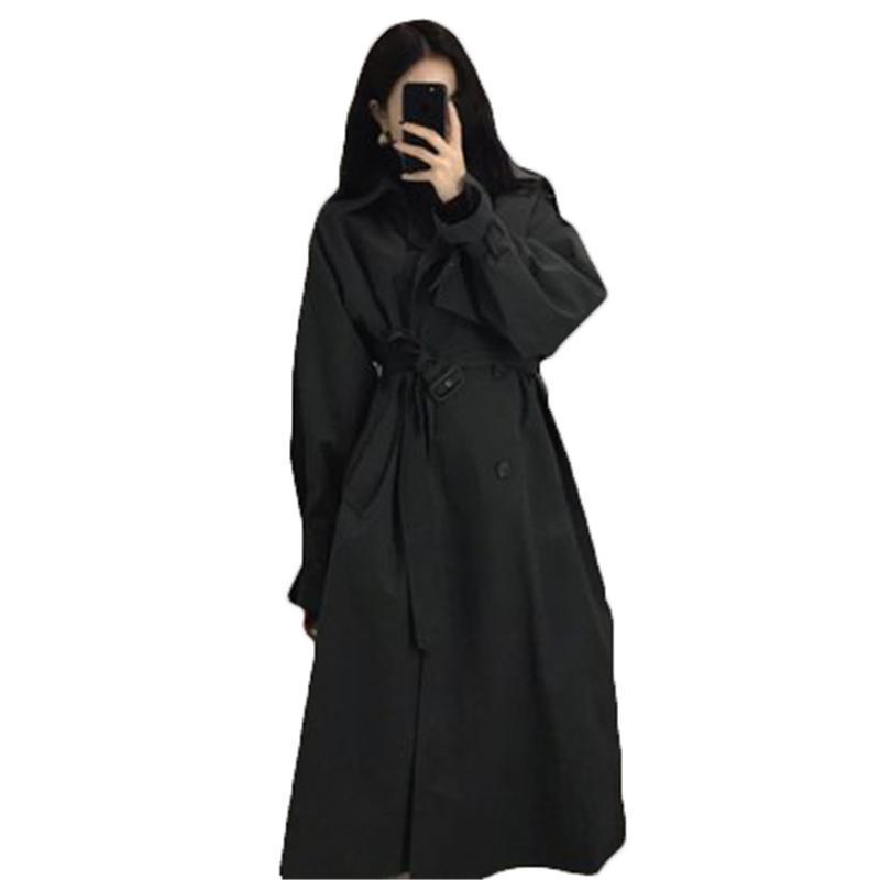 Capacas de la zanja de las mujeres Moda Long Black Blackbreaker Mujeres 2021 Primavera Temperamento de otoño Coreano Estilo británico Khaki F264