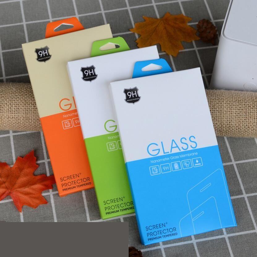 Protezione dello schermo in vetro temperato Scatola al dettaglio vuota confezione pacchetto confezione confezione scatola di colori per iPhone 11 12 Pro XS Max XR x 8 Samsung S20 S21