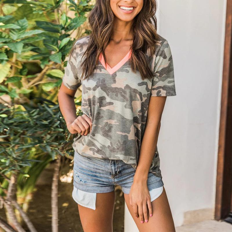 T-shirt spring and summer V-neck splicing camouflage short sleeve Pullover women's Tees & Polos Tech Fleece Material