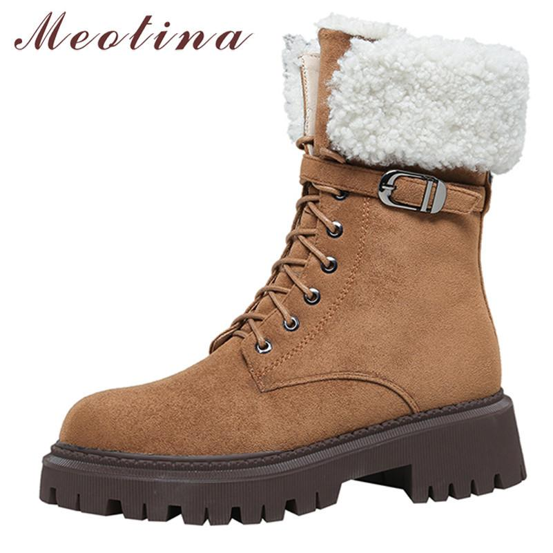 Bottes de moto en cuir réel Femme plate-forme Med talon cheville block zip boucle courte boucle à lacets femelle chaussures 210517