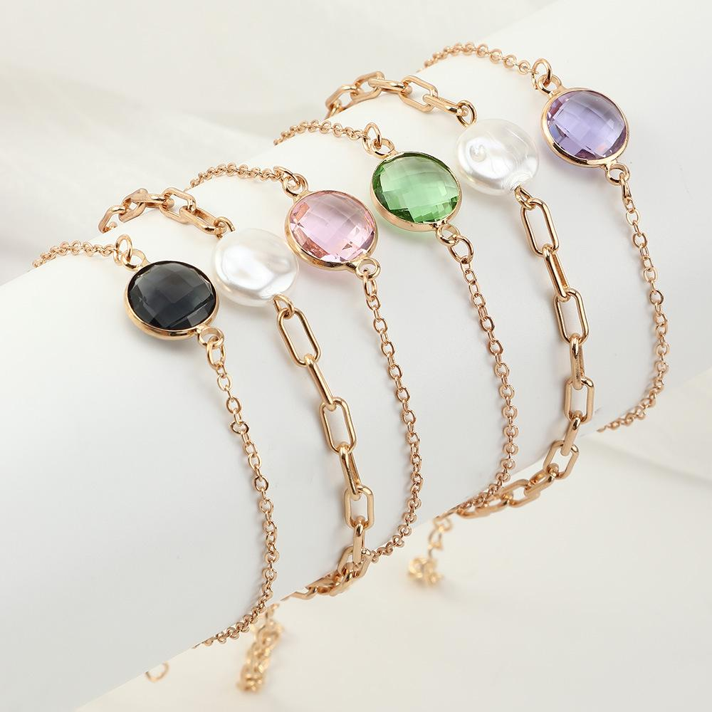 3set/lot Retro Fashion Elegance Gem Charm Bracelets Pearl Multicolor 3-Piece crystal Bracelet Set European Style jewelry