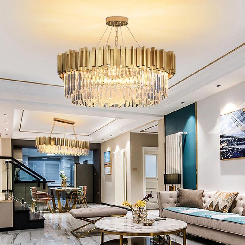 Lâmpadas pendentes moderno iluminação candelabro de cristal luxuoso para sala de estar Dining ouro luzes led