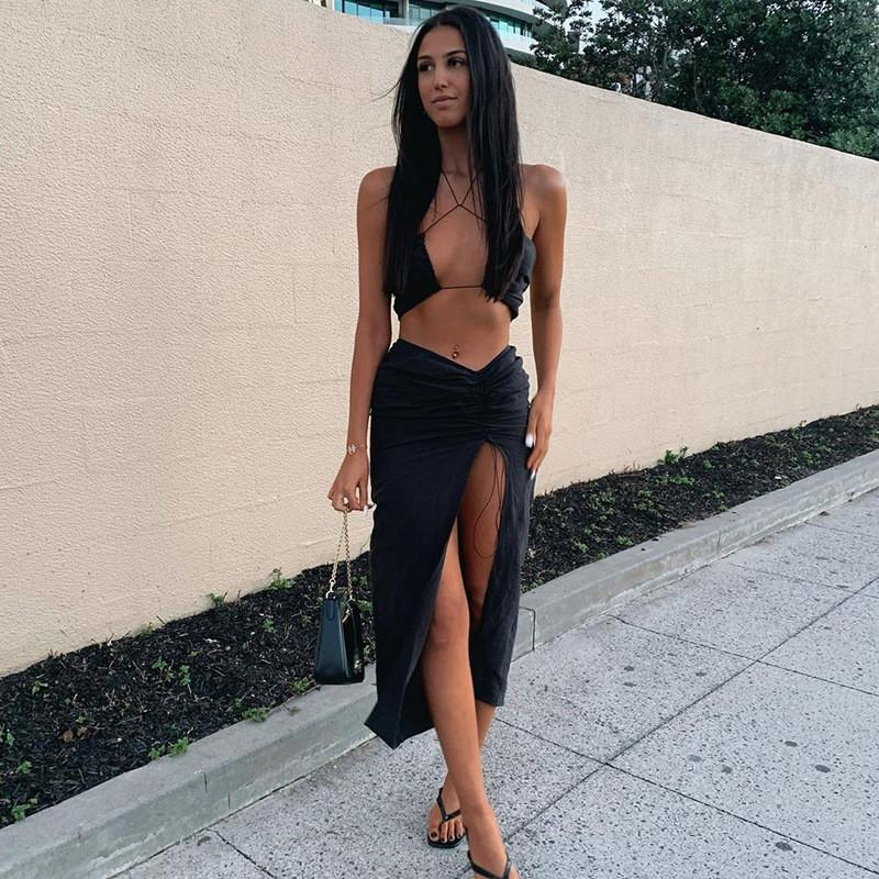 Outfit 2021 New Two Pieces Set Women Slim Halter Hollow Out Crop Top And High Waist Split Long Skirt Spring Sexy Solid