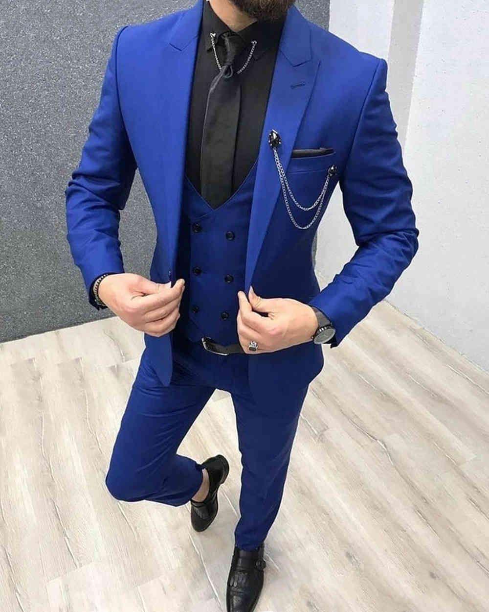 Costumes Hommes Blue Royal 3 Pieces Notch revers Tuxedos Slim Fit Fit Grooms à double boutonnage Gilet pour mariage (Blazer + gilet + pantalon)