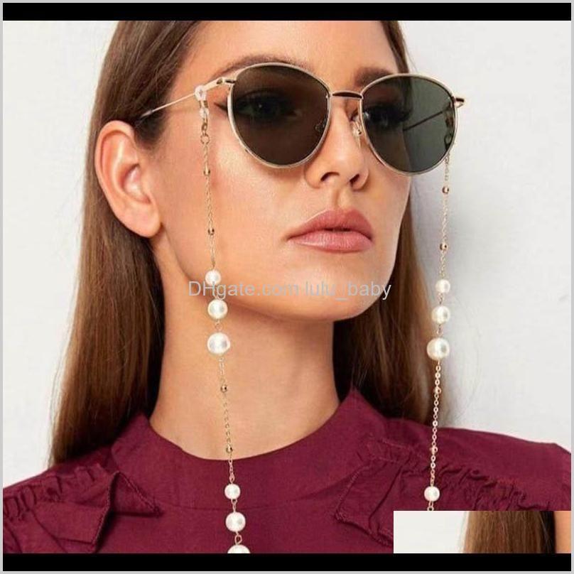 Llegada AllpRurponer Gafas Cadenas con cierre de langosta Metal y perlas artificiales Hermosas máscaras de la cara Mascarilla Cadena ZO16C BJ3OK
