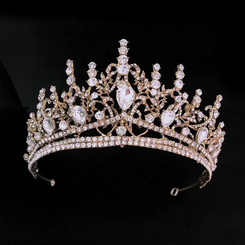 Haarklammern Barrettes Gold Farbe Krone und Tiara Frauen Hochzeit Zubehör Für Braut Kristall Strass Diadema Barock Stirnbänder Forseven