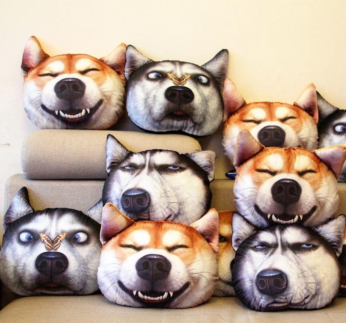 Fabrika doğrudan satmak 3D peluş oyuncaklar sevimli köpek kafa yastık simülasyon komik yastık dolması hayvanlar oyuncak yastık araba minderi 496