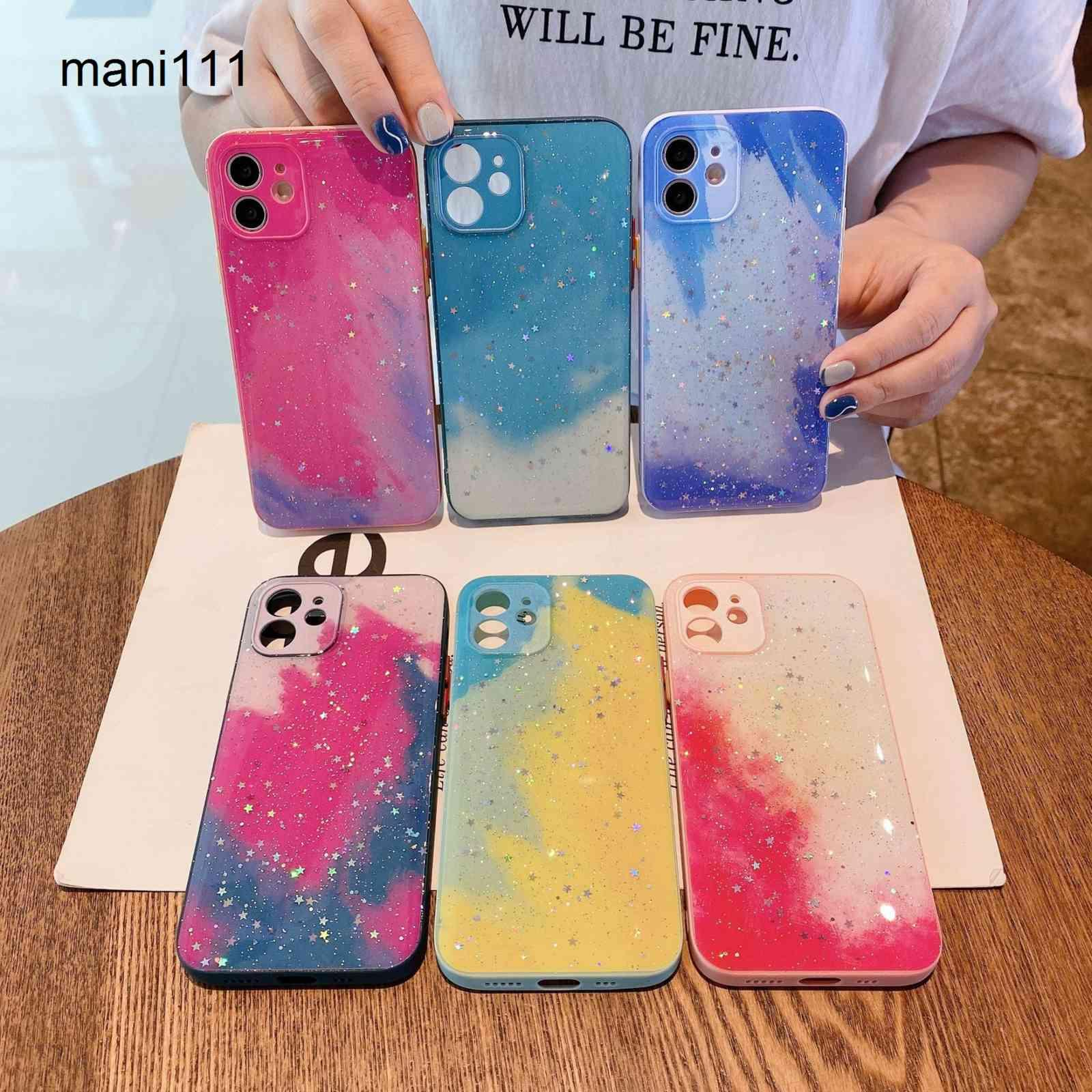 Suitable for iPhone 12pro skin feeling mobile phone shell XS Max fine hole full package Apple 12 watercolor silicone protective case