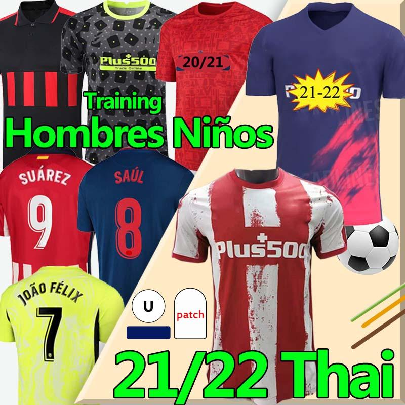 Nuovo 21/22 João Félix Atletico Soccer Jerseys de Madrid 2020 2021 Suarez Correa Koke Dembélé Carrasco M.llorente Uomo Kit bambini Kit calcio Jersey