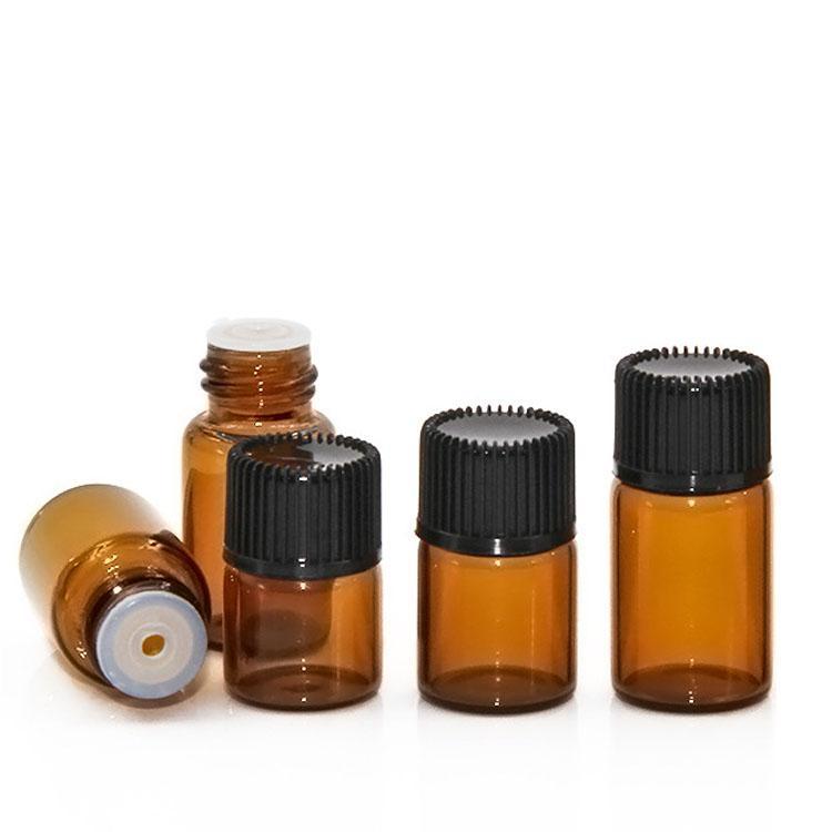 1ml 2ml 3ml mini bouteille d'huile essentielle en verre d'ambre noir Cap 1cc 2cc 3cc Exemple de flacon de flacon de parfum de parfum