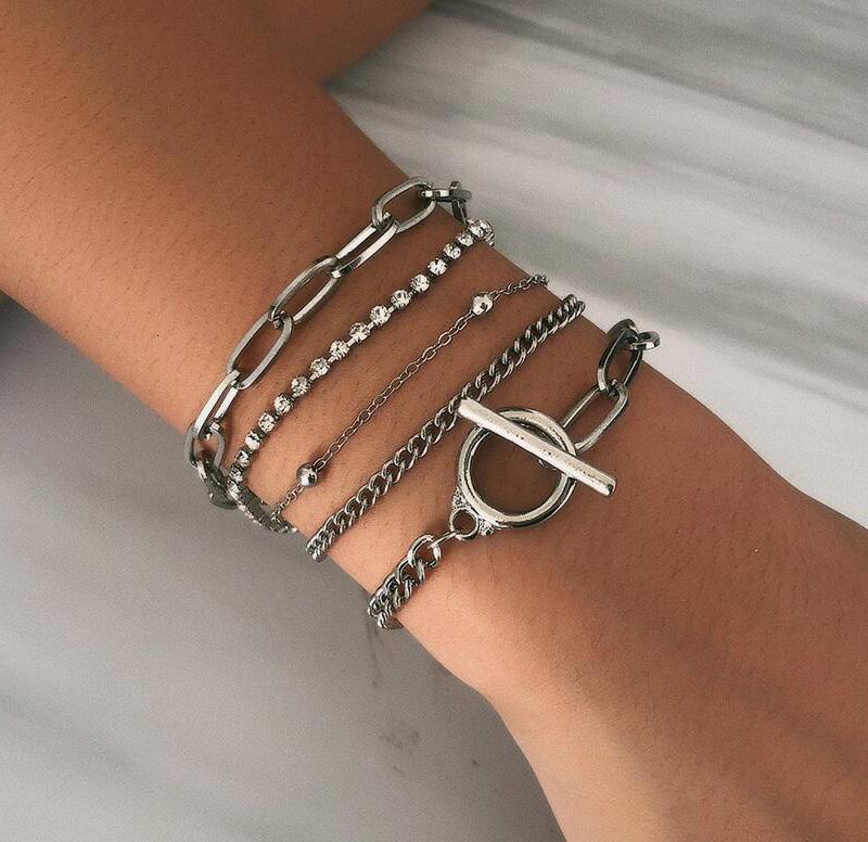 Bohemian Geométrico Cristal Multi Link Link Bracelets Brazaletes Charm Ajustable Lazo Pulsera Sistema para Mujeres Joyería Regalos Artículo