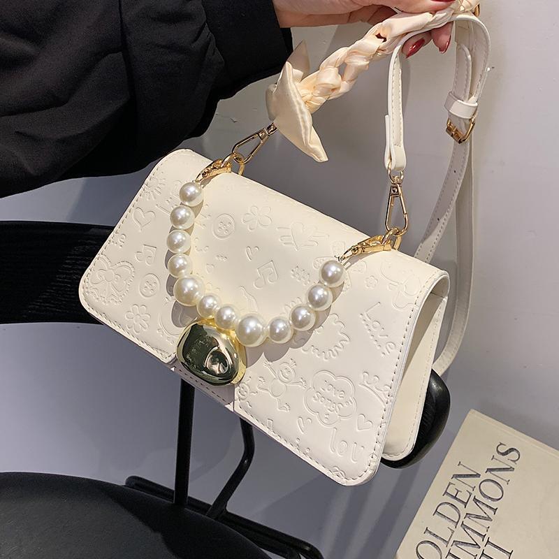 Summer Western-Style Printing Bags Высококачественная сумочка 2021 Мода жемчуга Женский дизайнер Все-матч Silk Scarf Messenger Bag Code Body