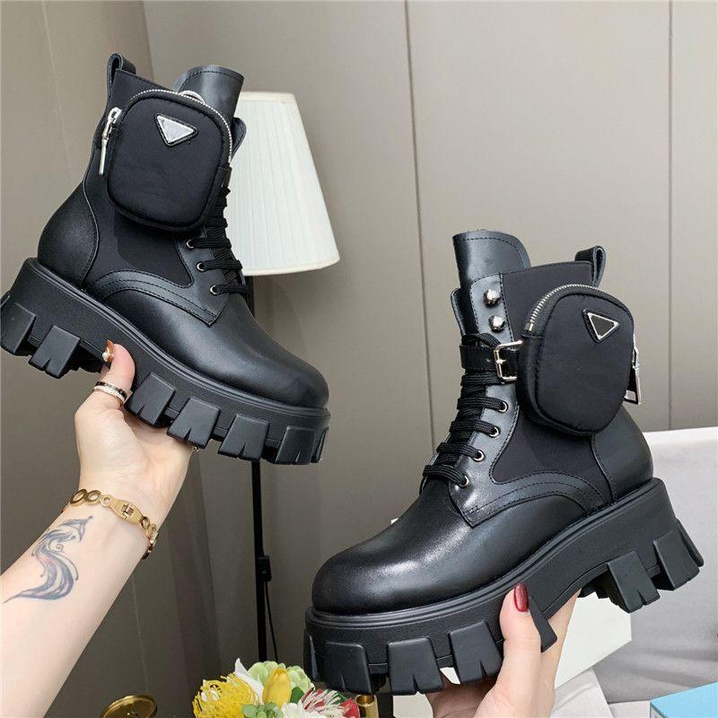 Frauen Stylist ROIS Stiefel Knöchel Nylon Tasche Schwarz Stiefel Martin Winter Dick-Sohlen Schuhe Wear-Widerstandsgummi High-Top-Plattform-Schuh