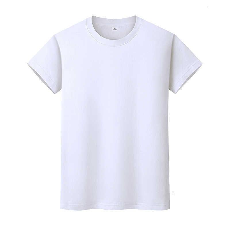 T-shirt de couleur solide ronde en coton à manches courtes à manches courtes à manches courtes et à mi-manches