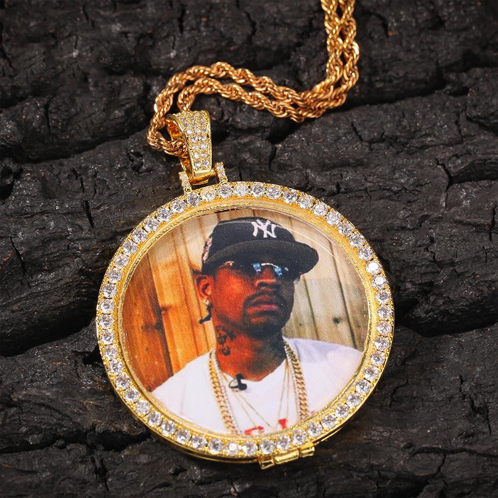 Custom Made Fotoğraf Yuvarlak Kolye Kolye Kübik Zirkon erkek Hip Hop Kaya Takı