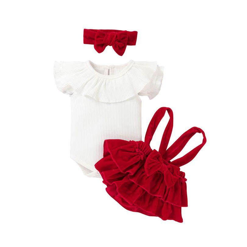 Clothing Sets Girls Outfits Baby Clothes Children Summer Cotton Short Sleeve Romper Braces Ruffle Shorts Headbands 3Pcs B4366