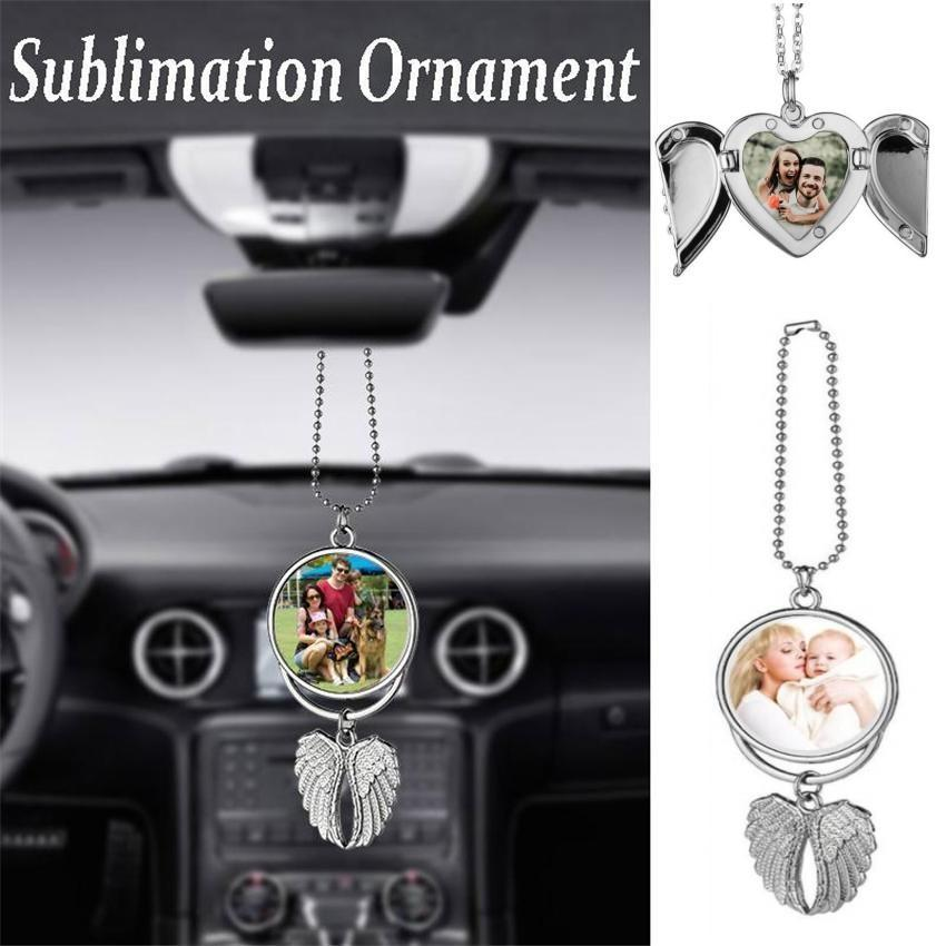 DHL Sublimation Big Wings Necklace Pendants Sublimation Blanks Car Pendant Angel Wing Rearview Mirror Decoration Hanging Charm Ornaments