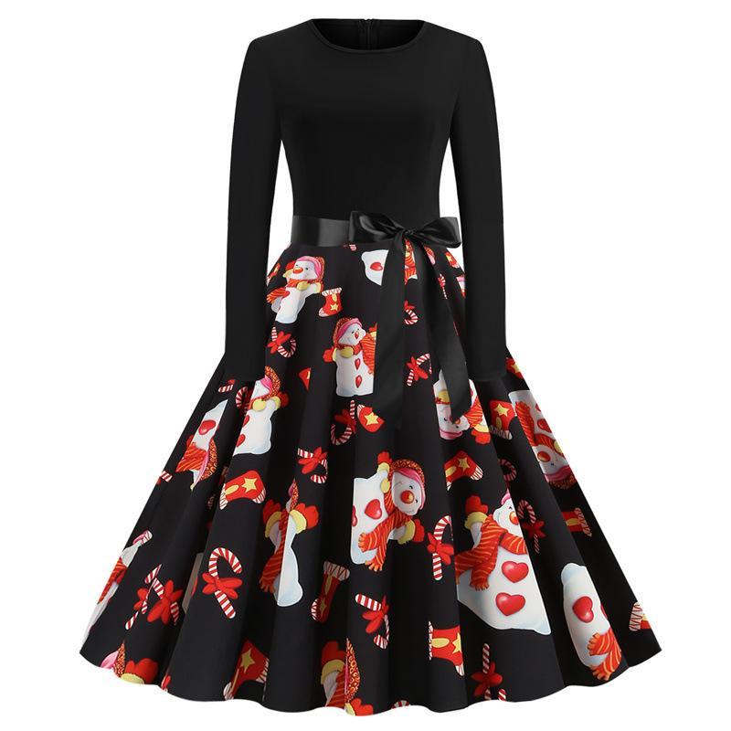Рождественские женские повседневные платья летучая мышь тыквенная вышивка плюс размер женские платья леди удобная свободная партия фестиваль A-line