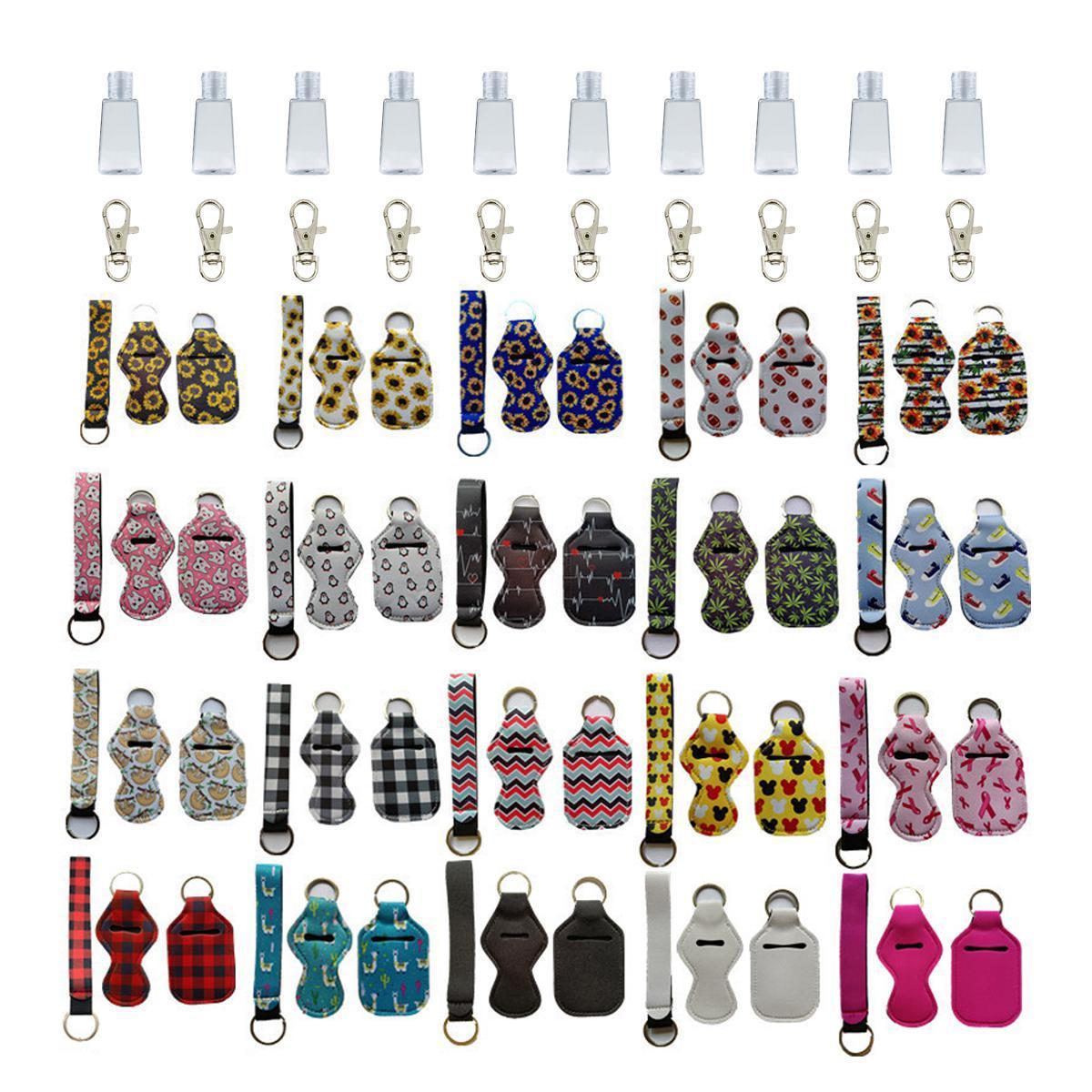 Sanitizer de mão e chaveiros chaveiros, incluindo garrafa de 30ml, cordão de pulseira, clip 83 cores DHF6700