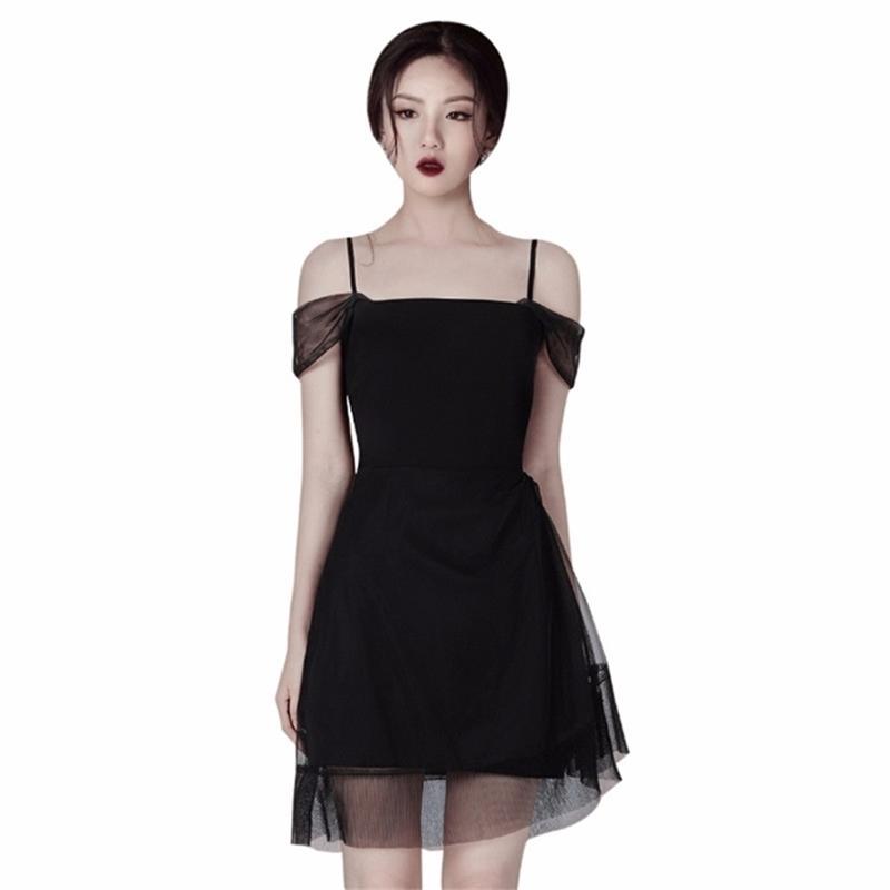 Design di lusso Design Dress Donne Donne Vestidos Sexy Spaghetti Strap Mesh Mini Vita Alta Vita Casual Sundress Femme 210603