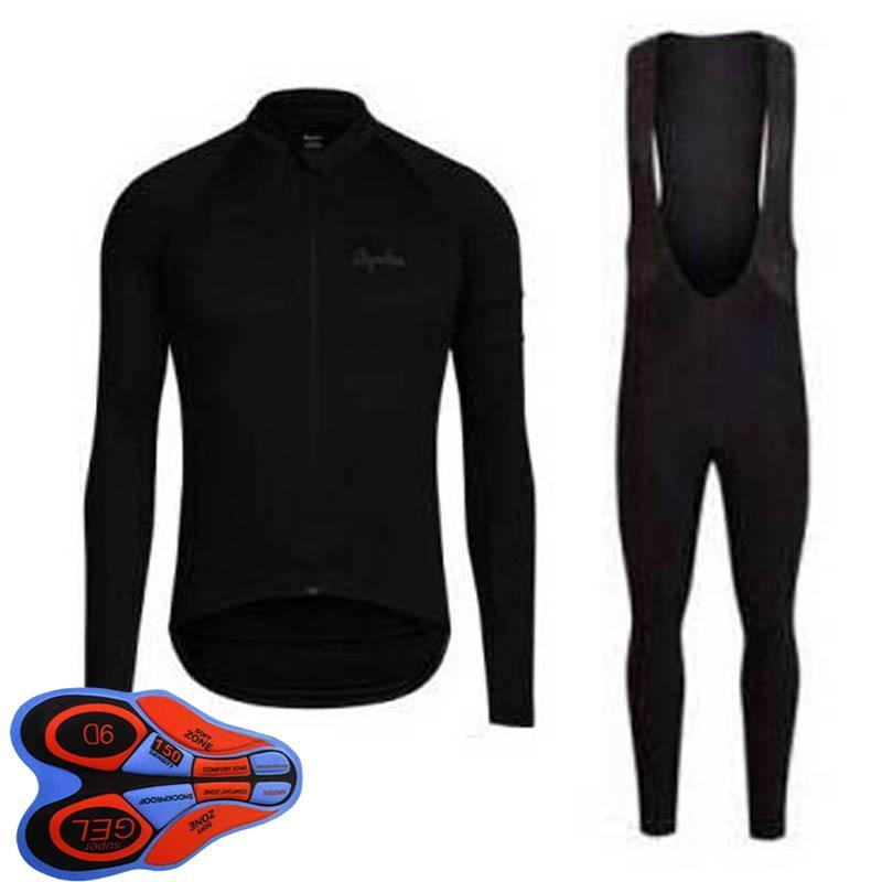 Rapha Team Bike Mens Велосипедные майки набор длинные рукавов рубашки на нагрудник брюки наборы дорожных гоночных нарядов на открытом воздухе спортивный велосипедная форма S210415160