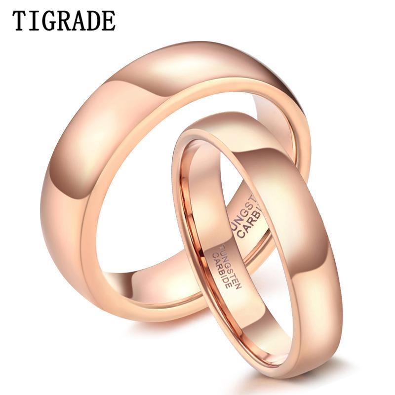 Обручальные кольца TIGRADE 4 мм 6 мм Винтажное розовое золото вольфрамовое кольцо из вольфрама для женщин сплошной любовник обручальная мода мода ювелирных изделий