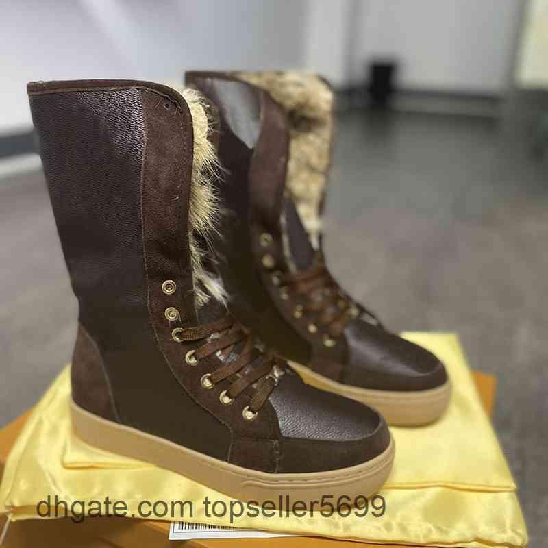 En Kaliteli Kadınlar Kış Kar Botları Tavşan Kürk Süet Deri Patik Sıcak Diz Yüksek Martin Boot Düz Ayakkabı Büyük Boy