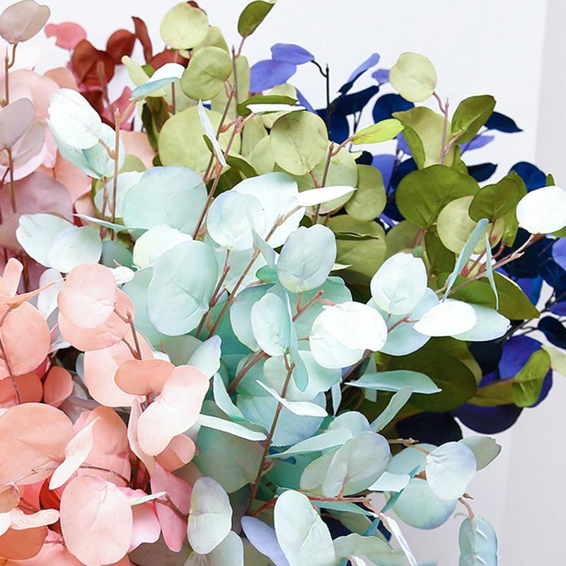 Artificial Long Pole Eucalyptus Leaf Leaves Plants Money Fake Wall Decorative For Wedding Shooting Prop Home Decor Flowers & Wreaths