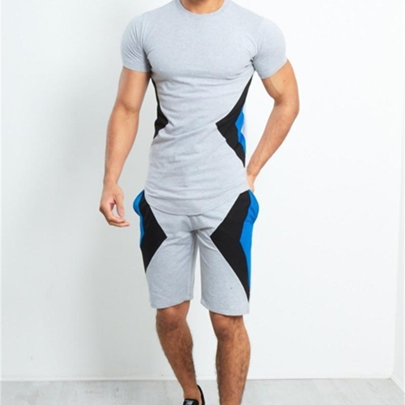 Nouveau Mens Summer Sets Suites MAN Patchwork Casual Sleeve Sleeve + Shorts Sports Set Male 2 pièces Sweat Costumes Vêtements 210330