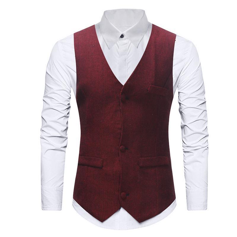 Estilo de moda para hombre Traje Chaleco Casual Vintage Sin mangas Herringbone Groomman para Wedding Tweed Waistcoat Plaid Hombre Chalecos