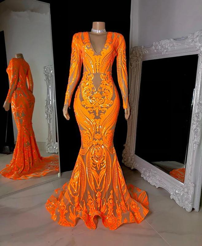 Sparkly Plus Size Prom Dresses 2021 V-neck Long Sleeve Orange Sequined African Black Girls Mermaid Evening Occasion Dress