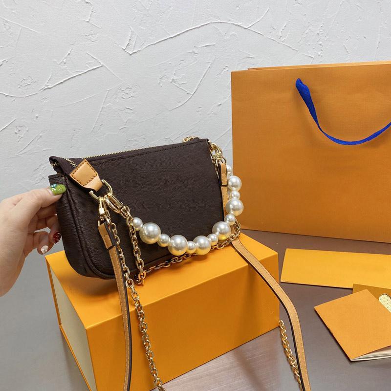 Embrague de moda bolsas de mano Cadena Crossbody Bolso Bolsos de mujer bolsos de lona de cuero clásico letra bolso detectable tres correas de hombro