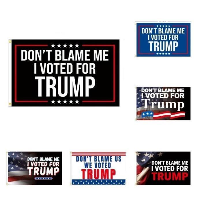 Fournitures de fête Trump Drapeaux 2024 Drapeau des élections présidentielles américaines Ne me blâme pas j'ai voté pour Trump 90 * 150cm DHL gratuit BJ08