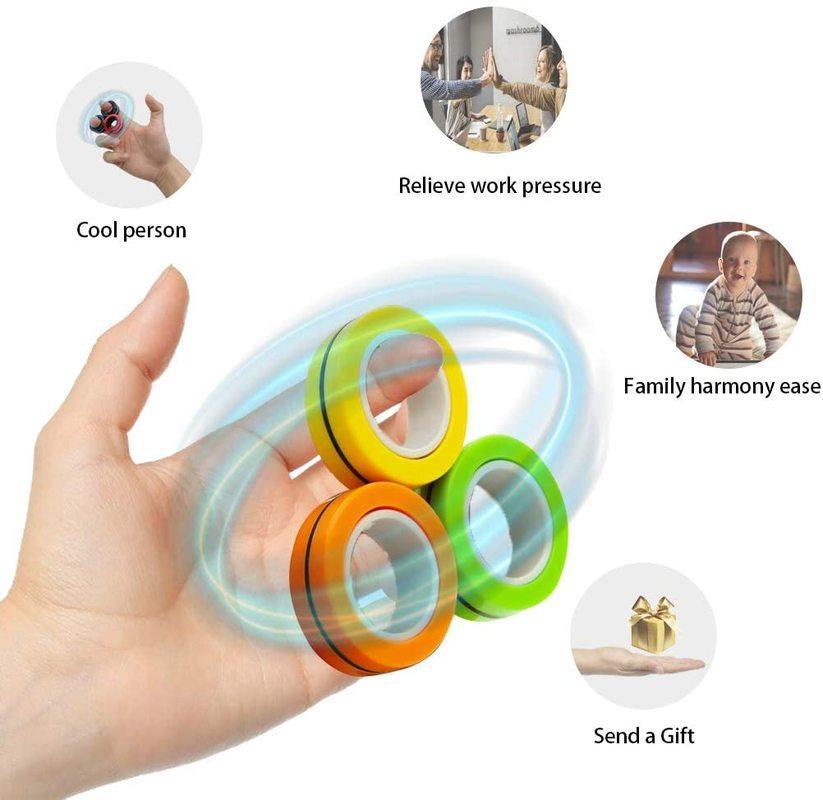 Funny Relief Anillos magnéticos Fidget Juguetes para la ansiedad Rodillo antiestrés TOYS TOYS ADULTOS Niños Dedos Spinner Magic Anillos Mágicos